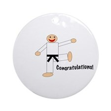 Black Belt Congratulations Ornament (Round)