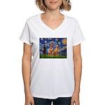 Starry / Rhodesian Ridgeback Women's V-Neck T-Shir