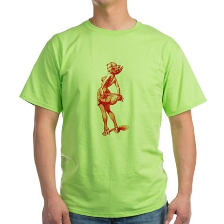 Vintage Pin Up Girl Green T-Shirt