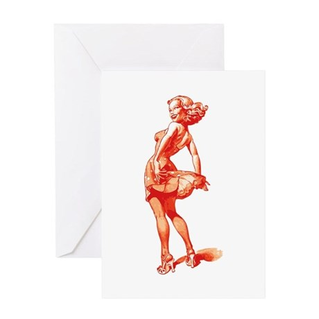 Vintage Pin Up Girl Greeting Card