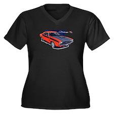 Dodge Challenger Orange Car Women's Plus Size V-Ne