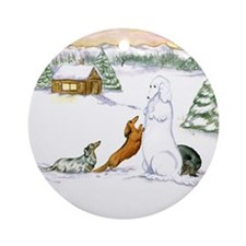 Longhaired Snow Dachshunds Ornament (Round)