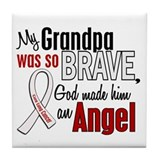 Angel 1 GRANDPA Lung Cancer Tile Coaster