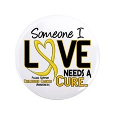 """Needs A Cure 2 CHILD CANCER 3.5"""" Button"""