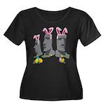 Easter Island Women's Plus Size Scoop Neck Dark T-