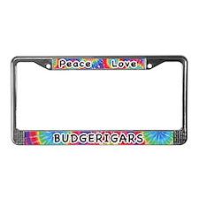 Peace Love Budgerigars License Plate Frame