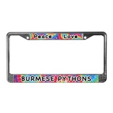 Peace Love Burmese Pythons License Plate Frame