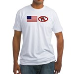 Slash Through W and American Flag Fitted T-Shirt