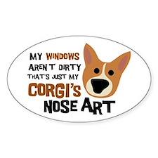 Corgi Nose Art Oval Decal