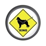 Belgian Sheepdog Crossing Wall Clock