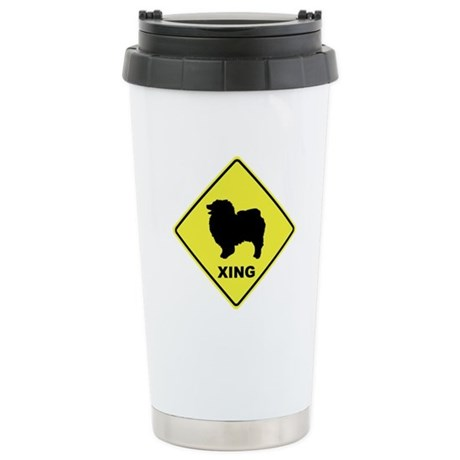 Keeshond Crossing Ceramic Travel Mug