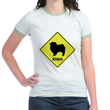 Keeshond Crossing Jr. Ringer T-Shirt