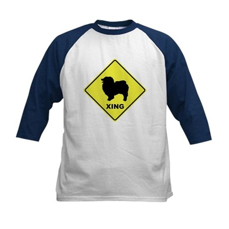 Keeshond Crossing Kids Baseball Jersey