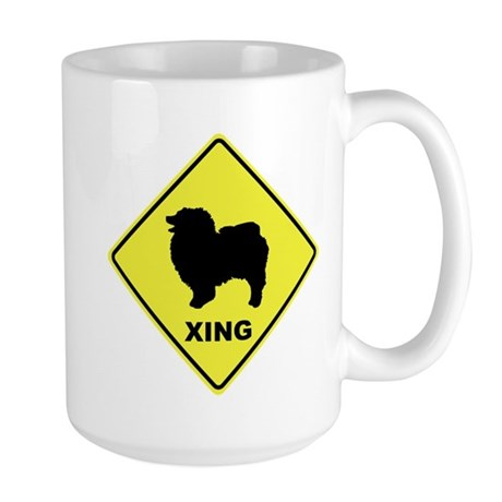 Keeshond Crossing Large Mug