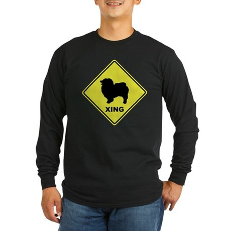 Keeshond Crossing Long Sleeve Dark T-Shirt