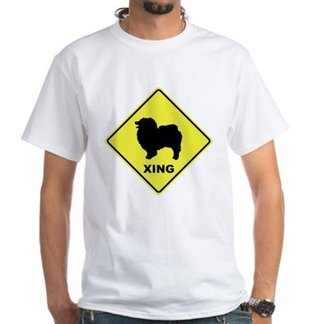Keeshond Crossing White T-Shirt