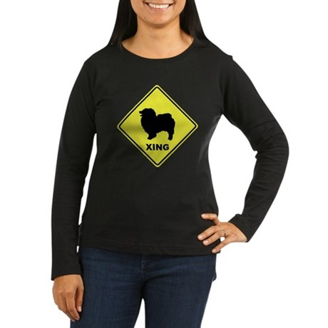 Keeshond Crossing Women's Long Sleeve Dark T-Shirt
