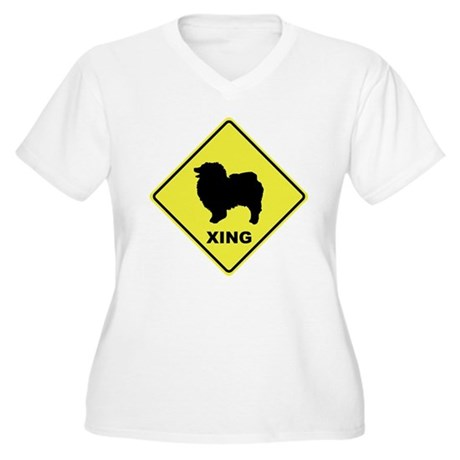 Keeshond Crossing Women's Plus Size V-Neck T-Shirt