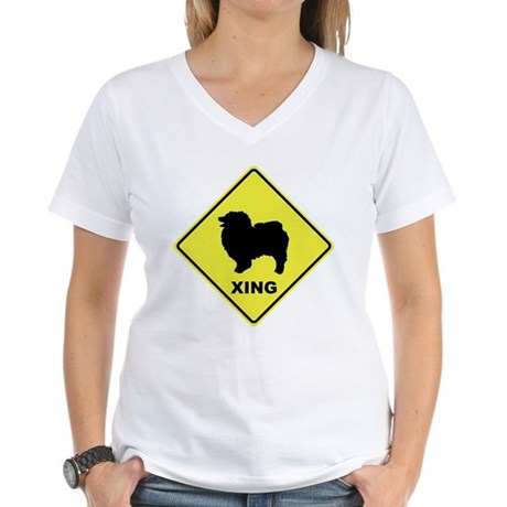 Keeshond Crossing Women's V-Neck T-Shirt