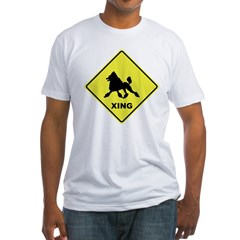 Poodle Crossing Fitted T-Shirt