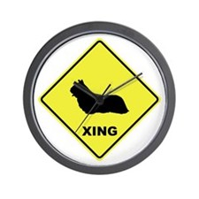 Skye Terrier Crossing Wall Clock