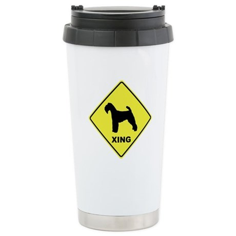 Welsh Terrier Crossing Ceramic Travel Mug