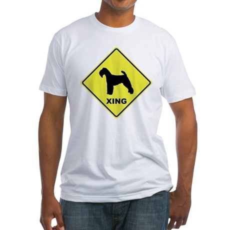 Welsh Terrier Crossing Fitted T-Shirt