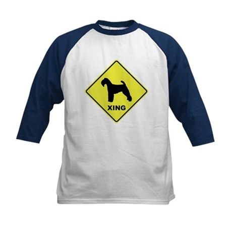 Welsh Terrier Crossing Kids Baseball Jersey