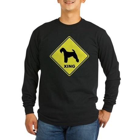 Welsh Terrier Crossing Long Sleeve Dark T-Shirt