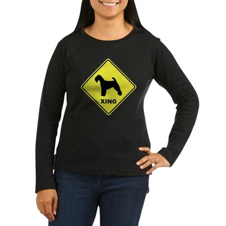 Welsh Terrier Crossing Women's Long Sleeve Dark T-