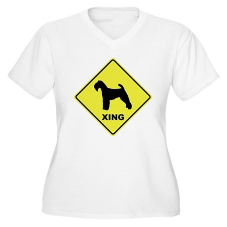 Welsh Terrier Crossing Women's Plus Size V-Neck T-