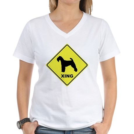 Welsh Terrier Crossing Women's V-Neck T-Shirt