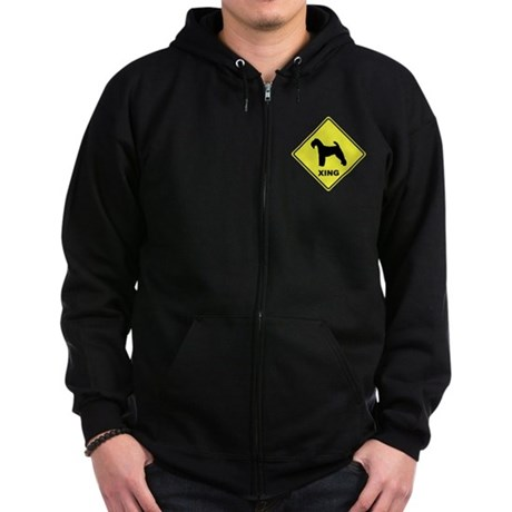 Welsh Terrier Crossing Zip Hoodie (dark)