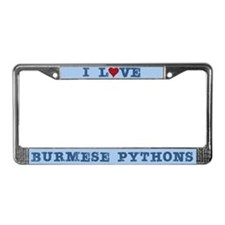 I Love Burmese Pythons License Plate Frame