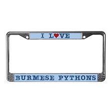 I Love Burmese Pythons License Plate Frame