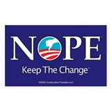 NOPE Keep the Change anti Obama bumper sticker