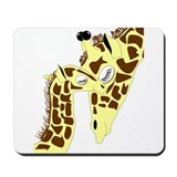 Mom and Baby Giraffes Mousepad