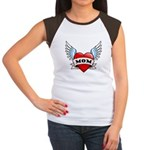 Mom Tattoo Winged Heart Women's Cap Sleeve T-Shirt