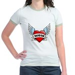 Mom Tattoo Winged Heart Jr. Ringer T-Shirt