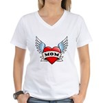 Mom Tattoo Winged Heart Women's V-Neck T-Shirt