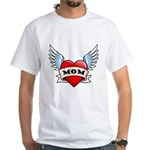 Mom Tattoo Winged Heart White T-Shirt