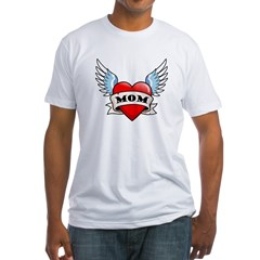 Mom Tattoo Winged Heart Fitted T-Shirt
