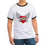 Mom Tattoo Winged Heart Ringer T