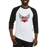 Mom Tattoo Winged Heart Baseball Jersey