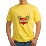 Mom Tattoo Winged Heart Yellow T-Shirt