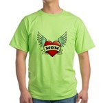 Mom Tattoo Winged Heart Green T-Shirt
