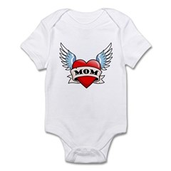 Mom Tattoo Winged Heart Infant Bodysuit