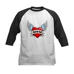 Mom Tattoo Winged Heart Kids Baseball Jersey