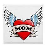 Mom Tattoo Winged Heart Tile Coaster