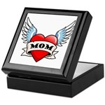 Mom Tattoo Winged Heart Keepsake Box